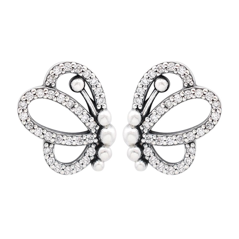 Pandora 潘朵拉 閃耀鑲鋯蝴蝶造型 純銀耳環