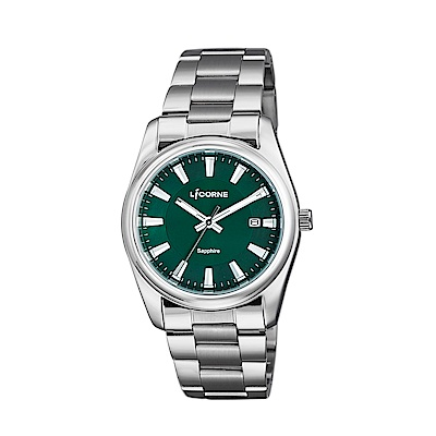 LICORNE 力抗錶 都會款 簡約風格手錶 綠×銀/36mm