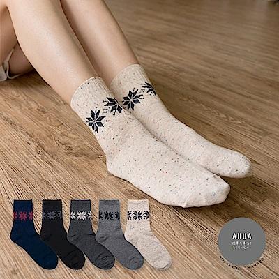 阿華有事嗎 韓國襪子 雪花圖案環繞中筒襪 韓妞必備長襪 正韓百搭純棉襪