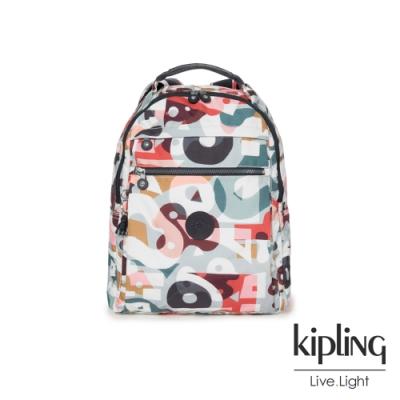 Kipling 音樂派對幾何塗鴉多袋實用後背包-MICAH