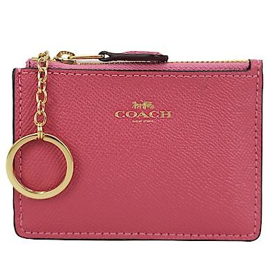 COACH 馬車防刮皮革後卡夾鑰匙零錢包(草莓粉)