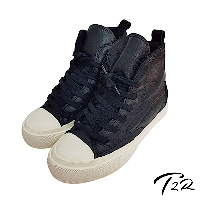 【T2R】內鋪毛氣墊增高高筒拼接帆布鞋-黑-增高6cm