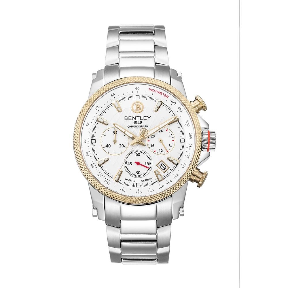 BENTLEY賓利 RACING系列 競速美學計時手錶-白x金銀/43mm