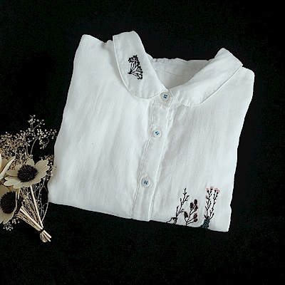 軟糯棉紗刺繡白襯衫娃娃領開衫上衣-設計所在
