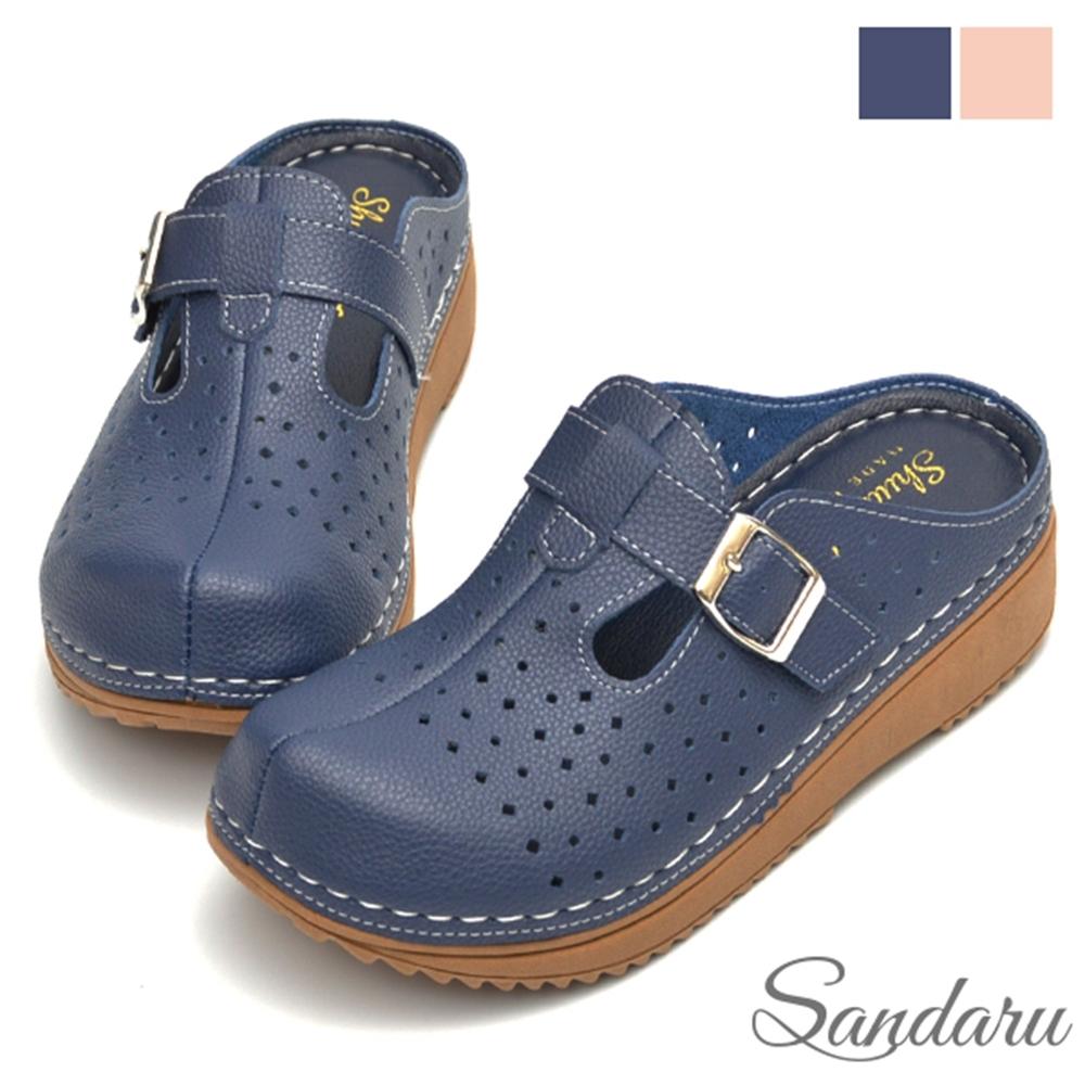 山打努SANDARU-穆勒鞋 透氣洞洞魔鬼氈大頭拖鞋-藍