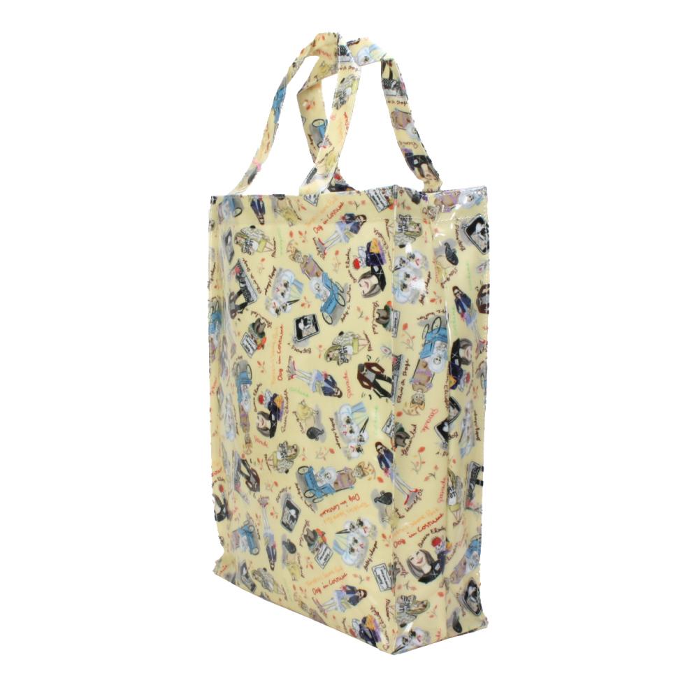 Reiko Aoki 青木禮子 Dogs-custom彩繪防水中型手提袋-淺黃色