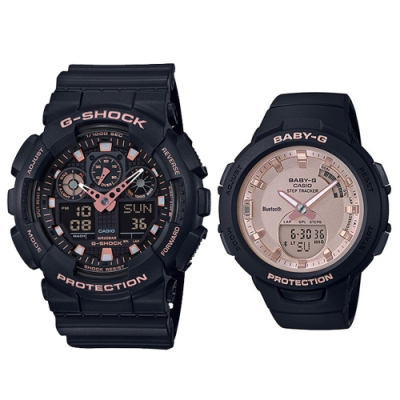 CASIO  時尚愛運動休閒對錶(GA-100GBX-1A4+BSA-B100MF-1A)
