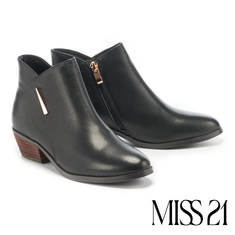 短靴 MISS 21 內斂品味剪裁拼接牛皮粗跟短靴-黑