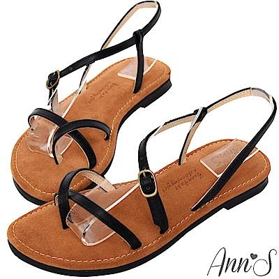 Ann'S水洗牛皮-交錯流線寬版平底涼鞋-黑