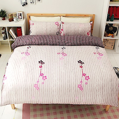幽香靜溢  柔絲絨加大四件式鋪棉兩用被床包組