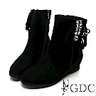 GDC-真皮秋冬時尚水鑽高端流蘇中筒靴-黑色