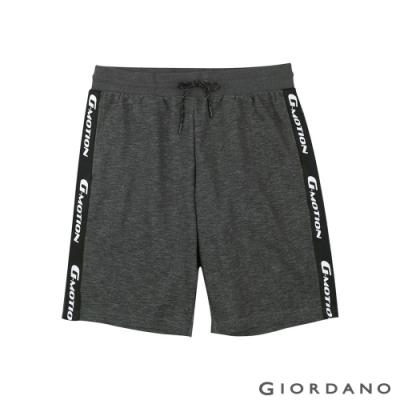 GIORDANO 男裝G-MOTION織帶設計針織短褲-90 仿段彩黑