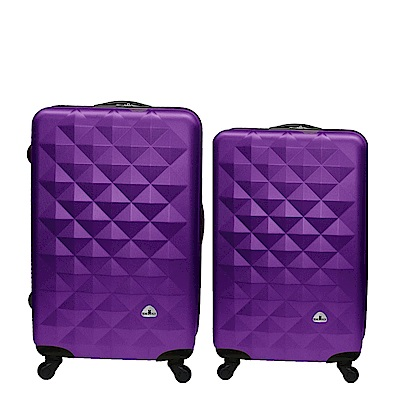 Bear Box 立體菱格晶鑽系列經典二件組24吋20吋 輕硬殼旅行箱行李箱-葡萄紫