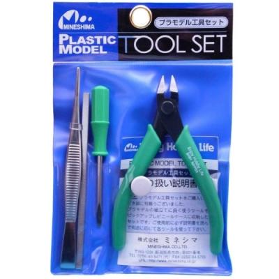 日本製MINESHIMA小島入門款塑膠模型工具4件組A-2(斜口鉗/一字起子螺絲刀/銼刀/鑷子)尺寸較小ミネシマhobby tool