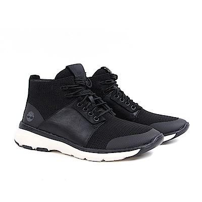 Timberland 男款黑色真皮布料休閒鞋
