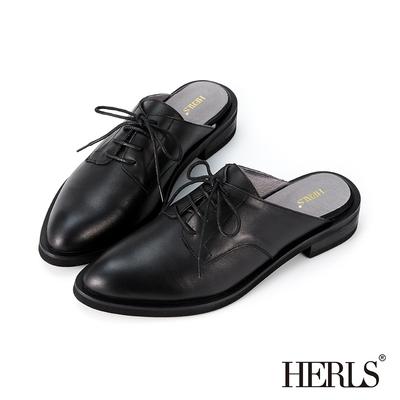 HERLS穆勒鞋 全真皮綁帶尖頭德比牛津穆勒鞋 黑色