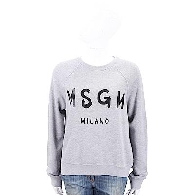 MSGM SCOOP NECK 品牌人氣款灰色字母棉質運動衫