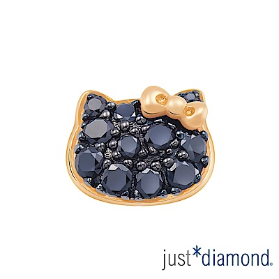 Just Diamond Hello Kitty黑鑽風潮18K玫瑰金系列 鑽石單耳耳環