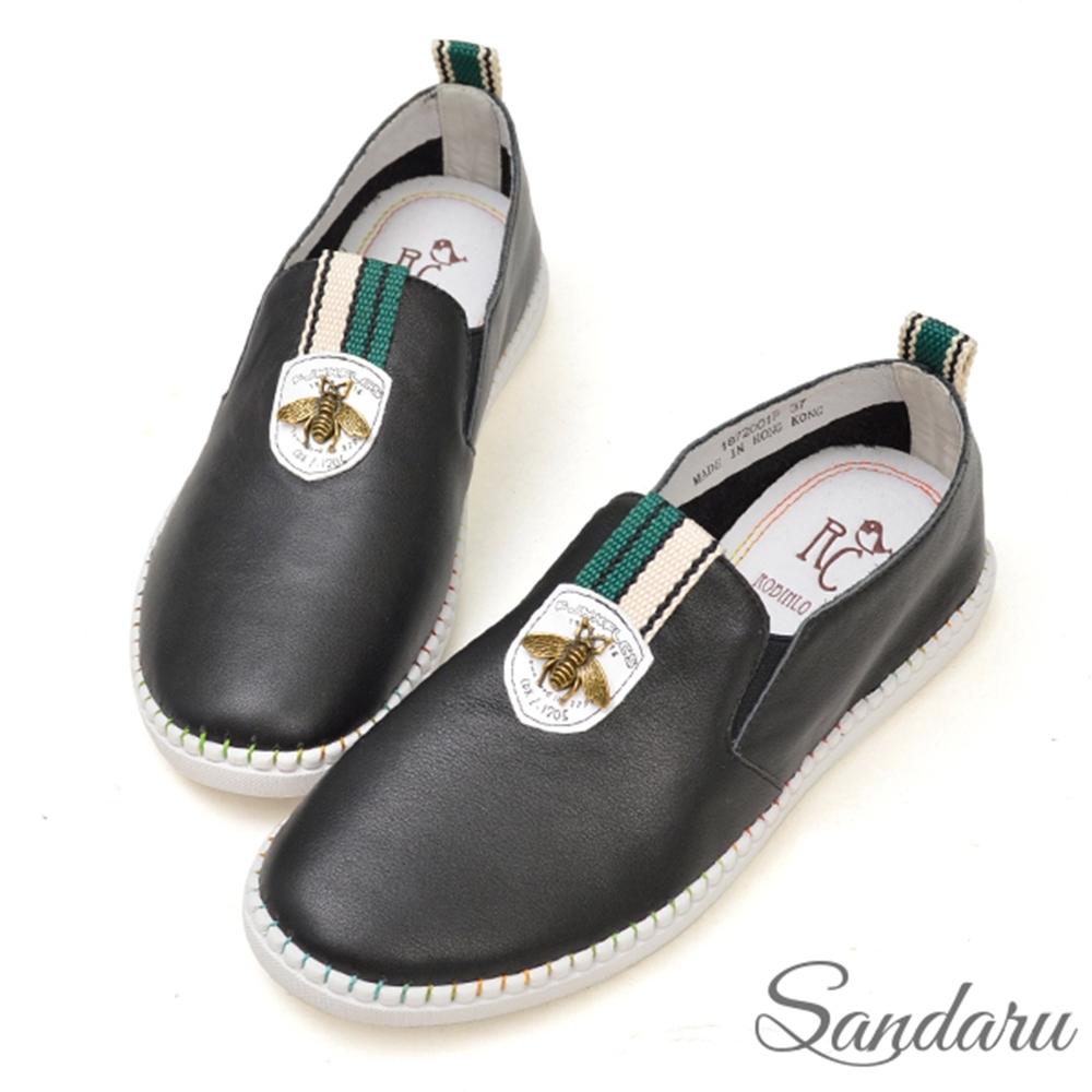 山打努SANDARU-全真皮精緻昆蟲柔軟休閒鞋-黑 (黑)