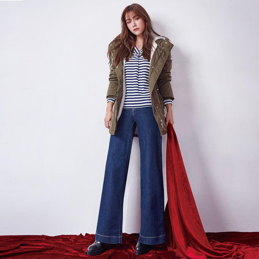Victoria 中高寬腰寬管牛仔褲-女-深藍