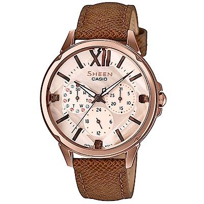 SHEEN 切割玻璃唯美浪漫腕錶(SHE-3056PGL-7)38mm