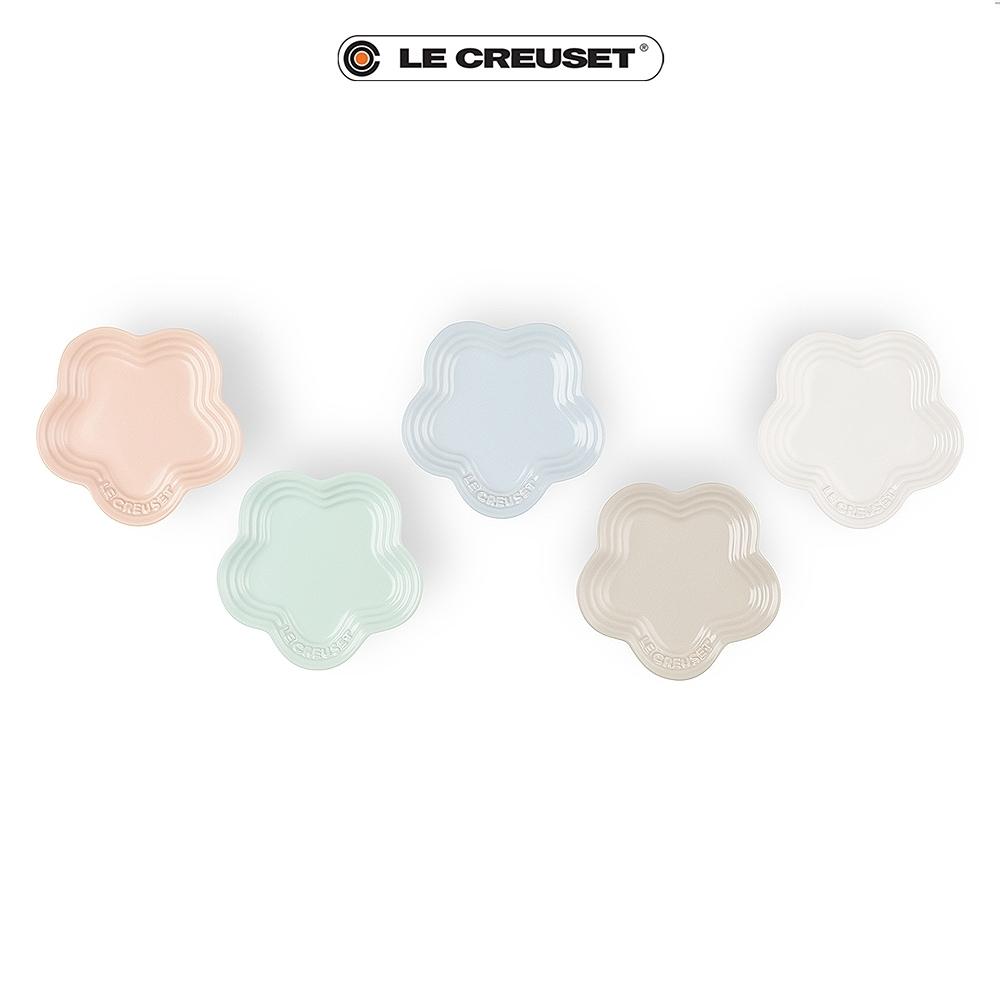 [結帳7折]LE CREUSET瓷器迷你花型淺盤5入(花漾粉/肉豆蔻/棉花白/晴空藍/甜薄荷)