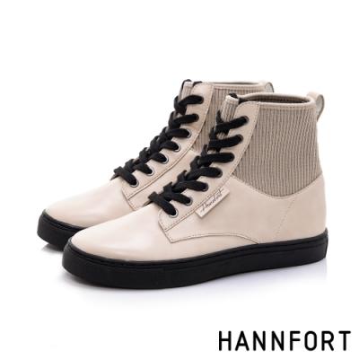 HANNFORT CAMPUS 針織彈性羅紋綁帶短靴-女-淺卡其