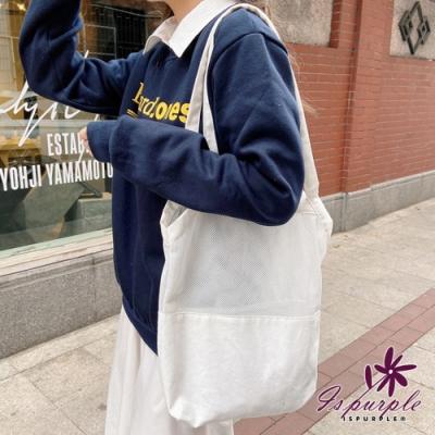 iSPurple 網面無印 日式帆布大容量購物單肩包 白