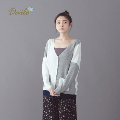 新降【Dailo】配色拼接外套-針織衫(三色)
