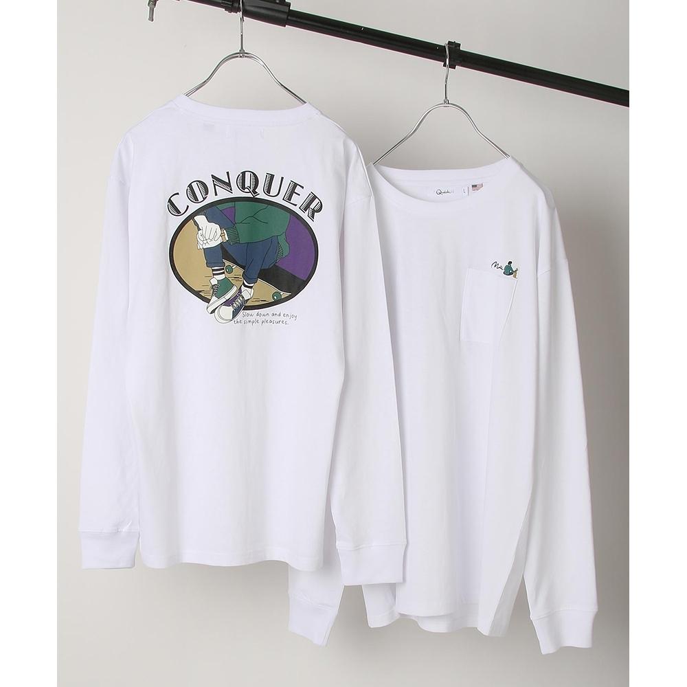 ZIP日本男裝 單點LOGO復古插圖印刷美國棉長袖T恤 (6色)