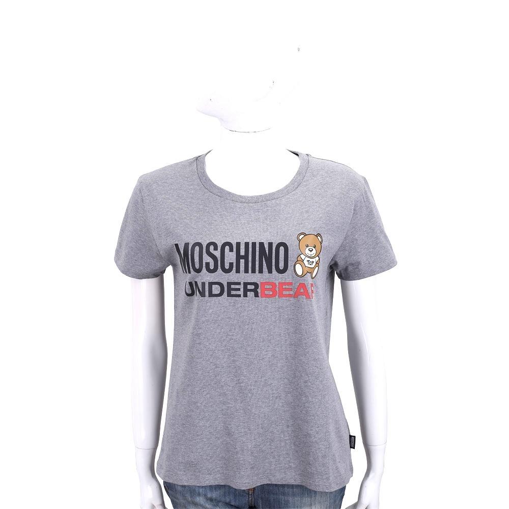 MOSCHINO Underbear 字母泰迪熊寶寶深灰色棉質T恤