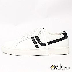 【AIRKOREA韓國空運】真皮正韓拼接線條設計微增高休閒鞋-白黑