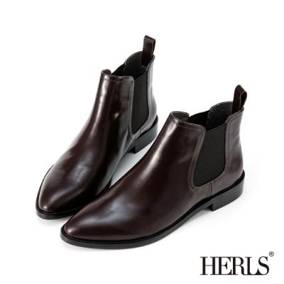 HERLS短靴-全真皮素面尖頭鬆緊切爾西低跟短靴-酒紅色