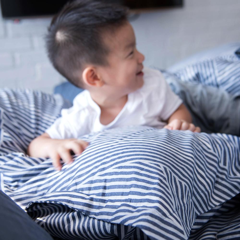 OLIVIA  波賽頓 藍  標準雙人床包枕套三件組 200織精梳純棉
