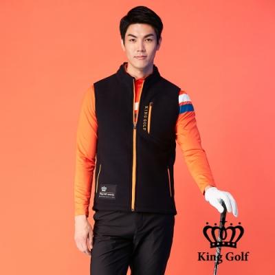 【KING GOLF】LOGO印圖保暖搖粒絨刷毛剪裁無袖背心-黑色
