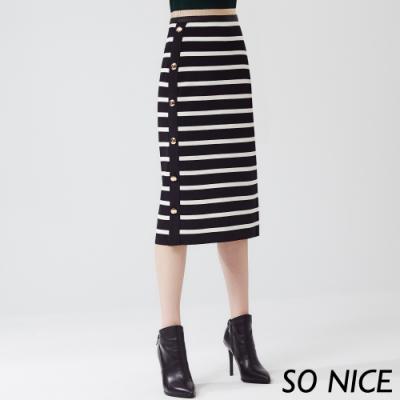 SO NICE都會簡約條紋窄裙
