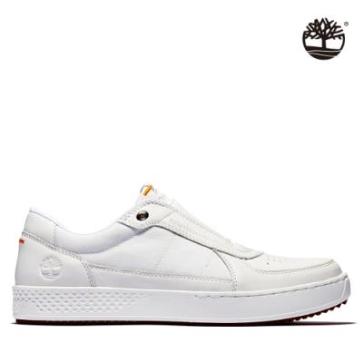 Timberland 男款白色全粒面拼接織布休閒帆船鞋|A2FYU