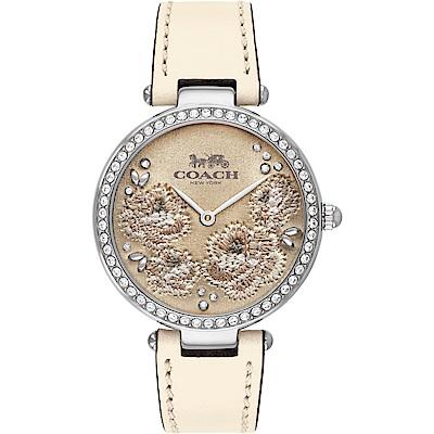 COACH Park 頂級刺繡工藝 茶花晶鑽女錶(14503284)-米白/34mm