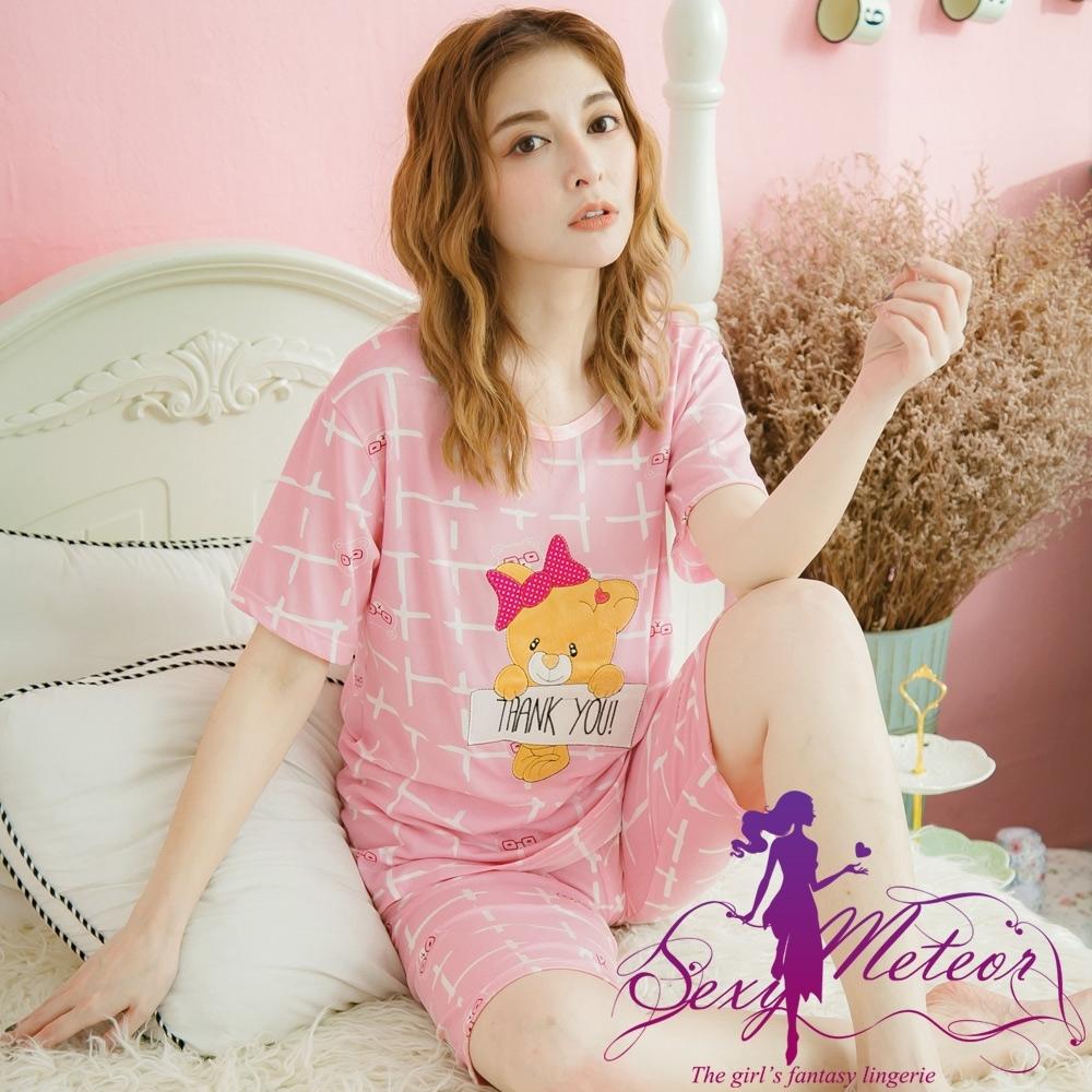 睡衣 全尺碼 小熊牛奶絲短袖二件式睡衣組(元氣粉紫) Sexy Meteor