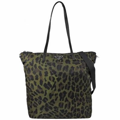 PRADA 三角LOGO豹紋圖案尼龍兩用購物包(黑綠)