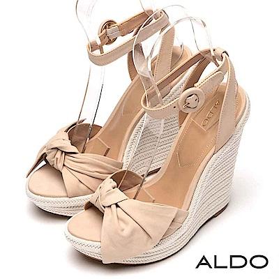 ALDO 原色真皮鞋面蝴蝶結繫踝釦帶露趾楔型涼鞋~氣質裸色