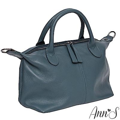 Ann'S小版質感全牛皮訂製雙拉鍊2WAY貝殼包-土耳其藍
