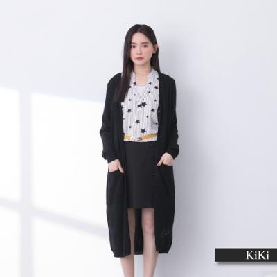 【KiKi】交織長版外套-針織衫(三色/版型適中)