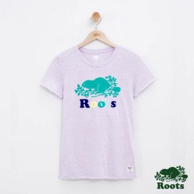 女裝Roots 彩色LOGO短袖T恤-紫