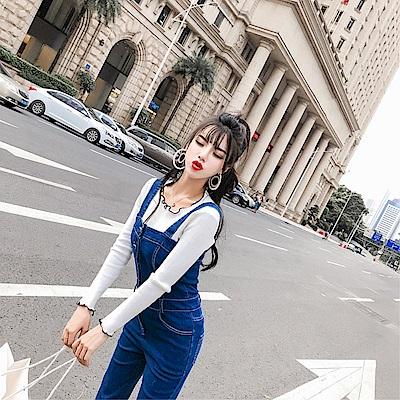 DABI 韓國學院風流蘇單品牛仔背帶褲套裝無袖褲裝