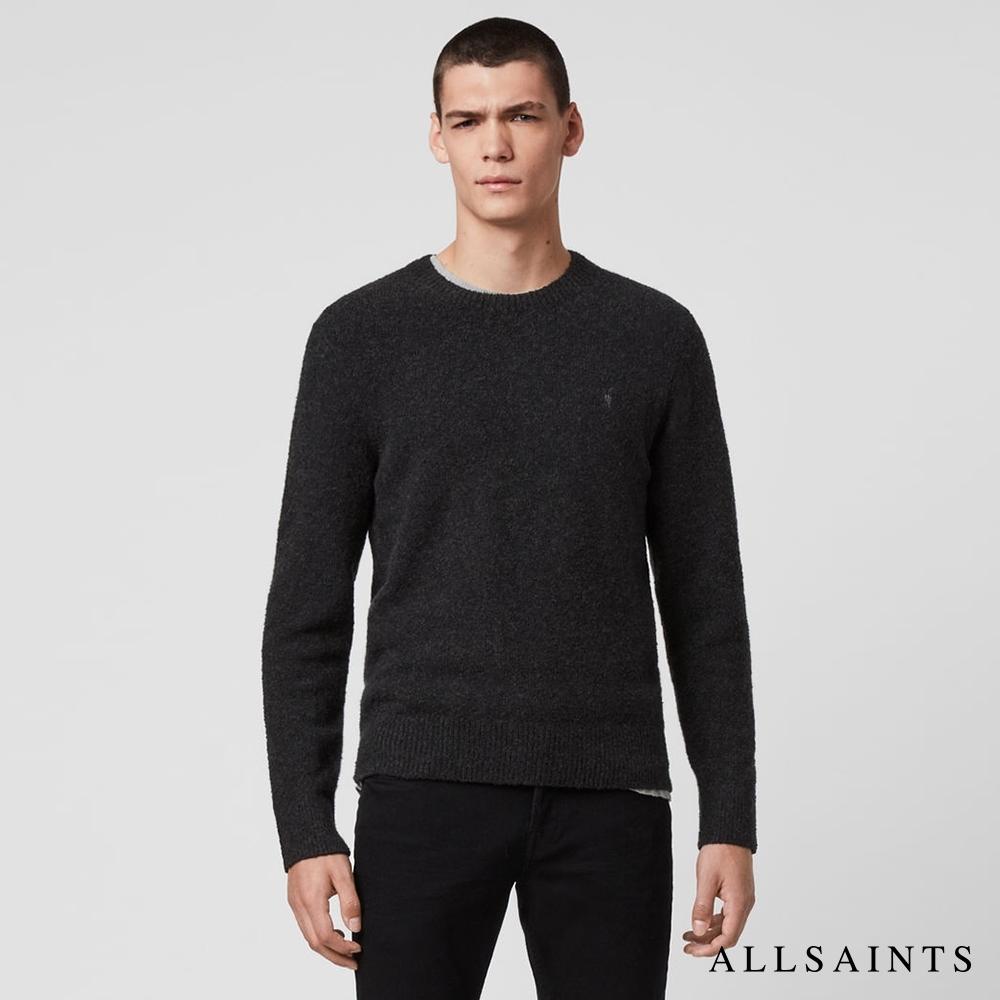 ALLSAINTS TOLNAR 素面公羊頭骨刺繡針織衫-灰黑