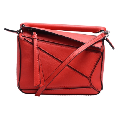 LOEWE PUZZLE BAG系列小牛皮幾何拼接設計手提/肩背包(迷你-紅色)