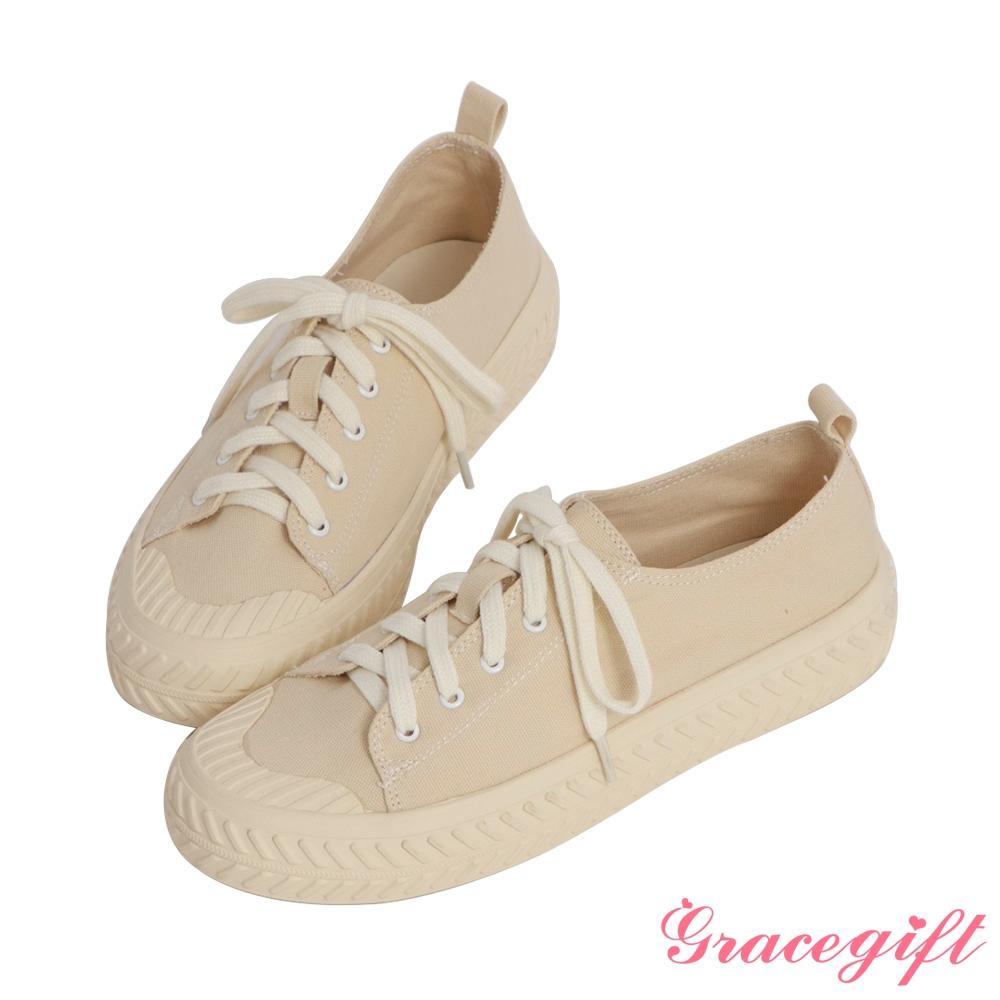 Grace gift-素面帆布休閒餅乾鞋 米白