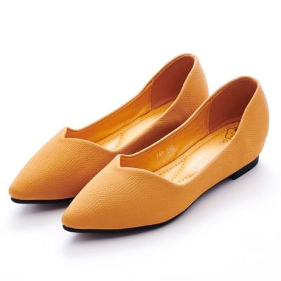 A one 尖頭仿針織布V口剪裁內增高平底包鞋-橙黃