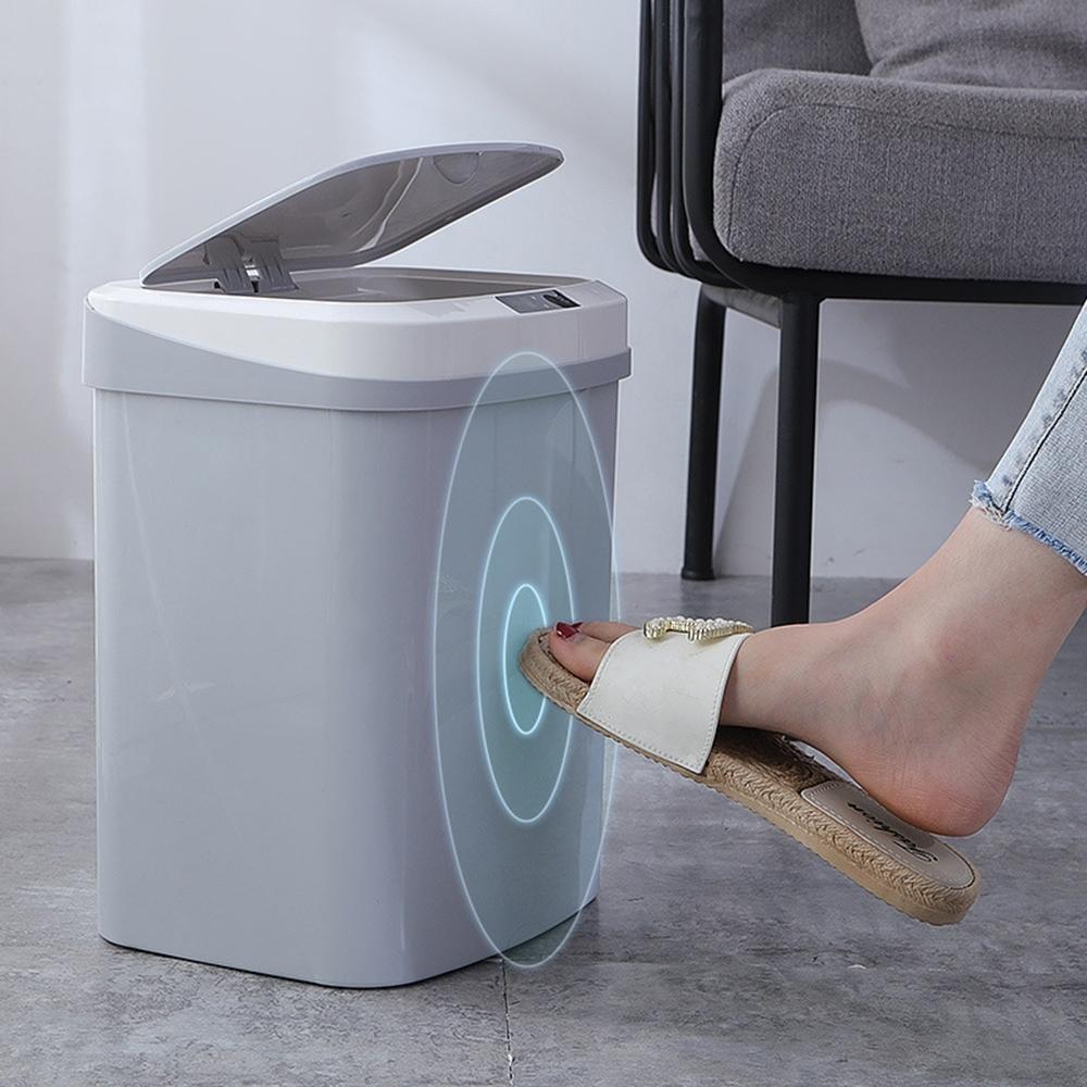 智能感應掀蓋垃圾桶 紅外線+觸碰感應自動開蓋垃圾桶 充電式 15L